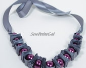 Custom Pearl Ribbon Accordion Necklace - Choose Your Colors