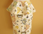 RESERVED: Custom Made Map of the World Skirt w/ Removable Peplum (other prints available)
