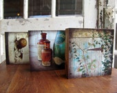 Weathered Charm - Set of 3 Wooden Photo Blocks, Wall Art