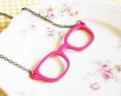 Retro Hot Pink Eyeglasses Necklace