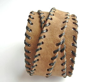Stitched Big suede cuff  (B299)
