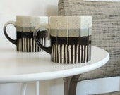Pair of Vintage Earthy Streaky Glazed Mugs