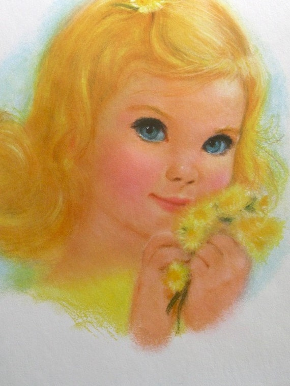 Golden Haired Northern Tissue Girl Pastel Print By Frances