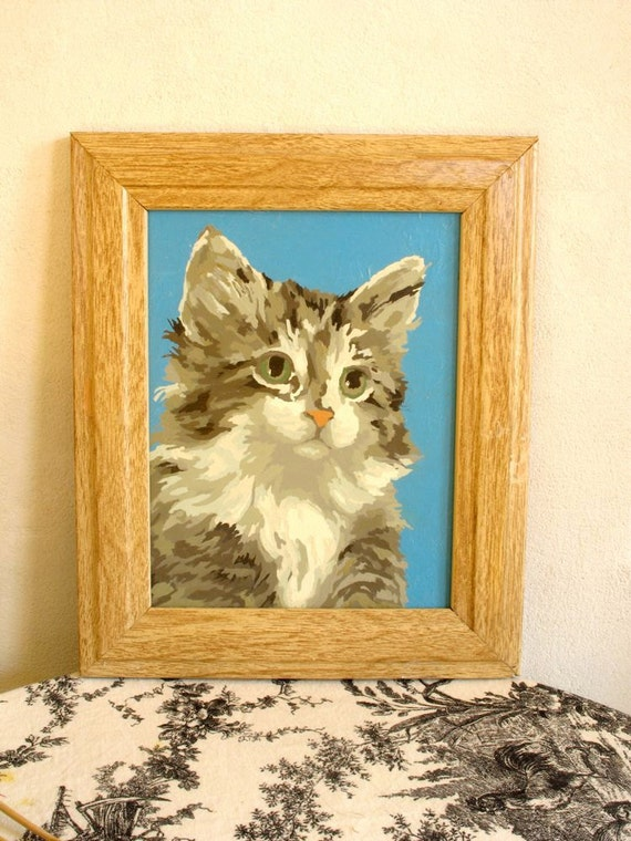 Vintage Kitty PBN Paint by Number Wooden Frame Fluffy Cat
