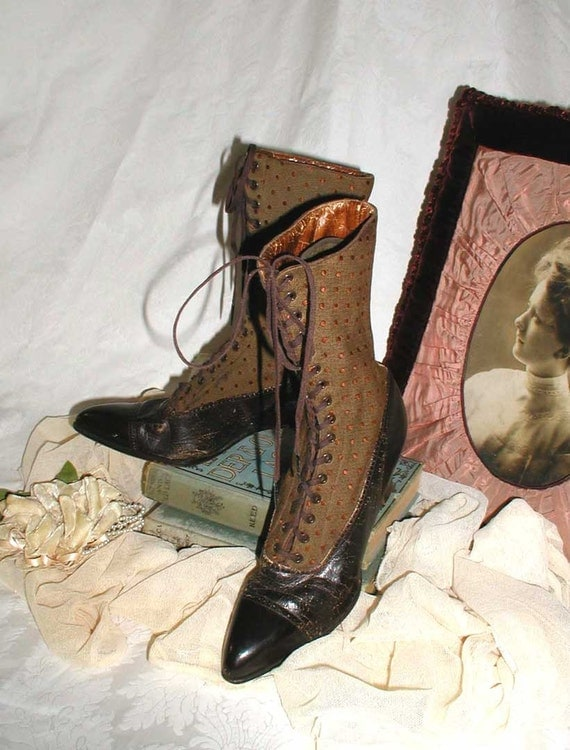 Edwardian Ladies Boots Rare Leather/Fabric and Never Worn