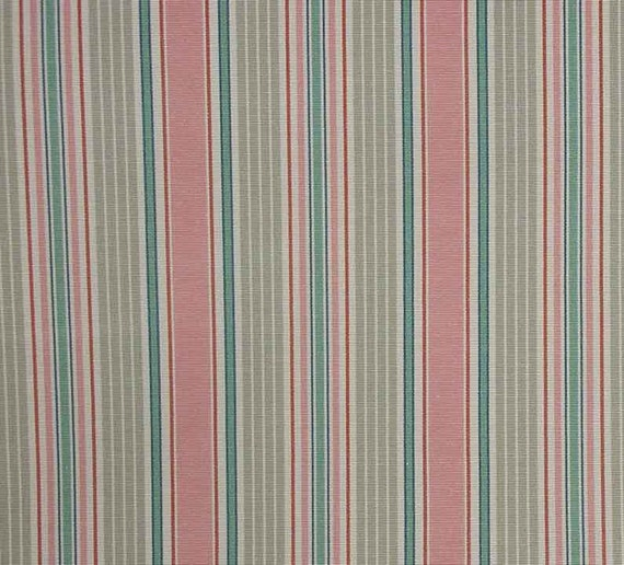 RESERVED for Jane: Pink and Light Teal Pastel Stripe Faille Decorating Fabric  - 2.25 Yards