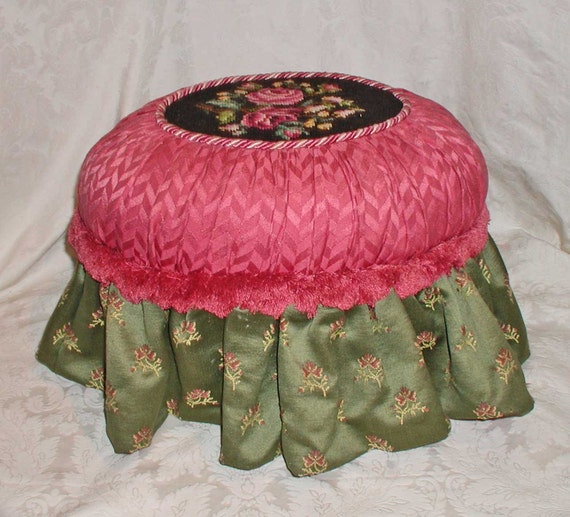 Victorian Style Decorative Footstool With Vintage Silk Cotton and Needlepoint  OOAK