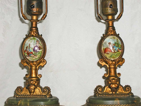 RESERVED for Elly: Pair of French Boudoir Lamps With Painted Porcelain Medallion and Green Marble at Base