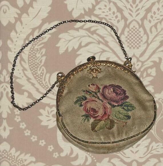 19th Century Silk Micro Petitpoint Evening Purse