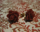 Maroon Rose Earrings