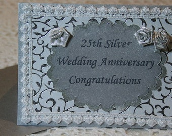 SPECIAL - REDUCED PRICE: 25th Silver Wedding Anniversary Congratulations Card