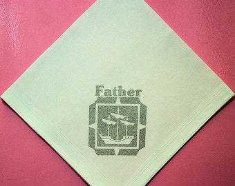 60% DISCOUNT: Gents Father Handkerchief in Silver Sailing Ship Screenprint