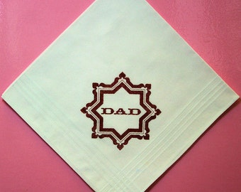60% DISCOUNT Gents White Cotton Dad Handkerchief with Burnt Umber Star print