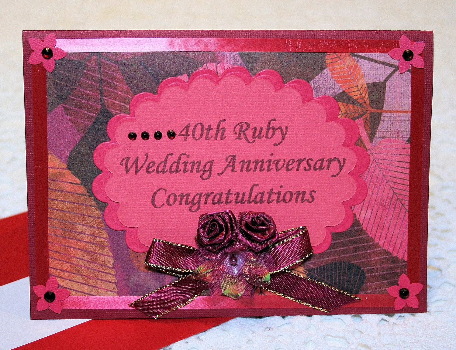 40th ruby wedding anniversary congratulatory card. Black Bedroom Furniture Sets. Home Design Ideas