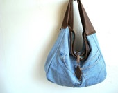 Upcycled large slouchy tote with chocolate brown leather and light blue denim