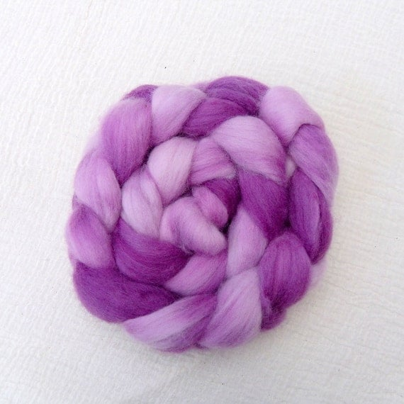Hand Dyed Corriedale Tops 110g  - Blackcurrant Smoothie 2
