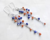 Blue orange earrings, funky earrings, colorful happy earrings, unique long earrings