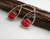 Red howlite earrings, wire wrapped earrings, red coral jewelry, handmade natural stone jewelry