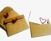 Kraft Mini Envelopes & Cards - Set of 12 - Recycled Kraft Paper