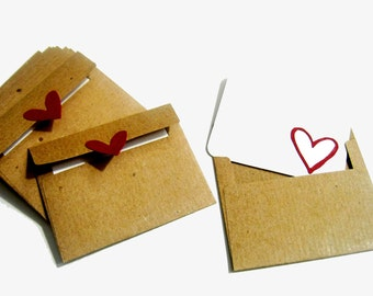 Mini Kraft Envelopes & Cards - Set of 10 - Recycled Kraft Paper
