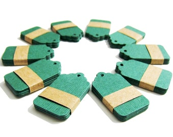 50 small Kraft Tags Die Cut - Gift Tags, Price Tags, Set of 50 Price Tags - Green - 1,57 x 1 inch (4 cm x 2,5 cm)
