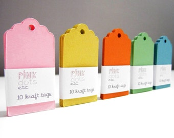 Blank Kraft Gift Tags - Set of 50 - 5 Colors: 10 Light Pink,10 Apple Green,10 Light Blue,10 Sunny Yellow,10 Pumpkin Orange