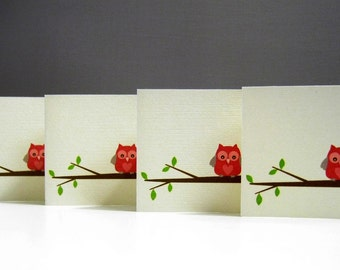 8 Owl Mini Cards - Set of 8 - Cute set of thank you mini cards