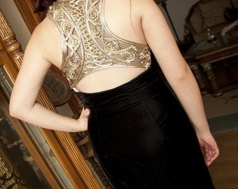 Vintage black velvet gown with AMAZING gold detailing on back.
