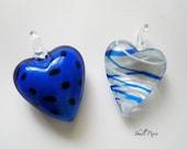 Murano Style Lampwork Glass Puffed Heart Pendants Blue & Black Dots Supplies uk seller, Irish seller