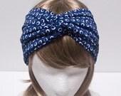 SALE-NAVY RAINDROP-Jersey Turban headband