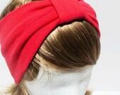 SALE-Red Cotton Jersey Turban headband/100% cotton