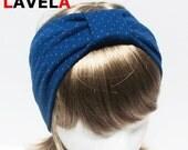SALE-Blue polka dot cotton Jersey Turban headband