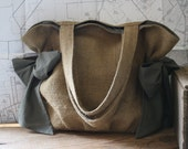 Reserved for Christi... Orchard Bag... Burlap and Olive Green