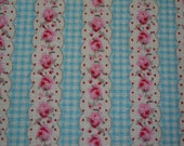 Stripes of flowers in light blue squares background,cotton canvas fabric