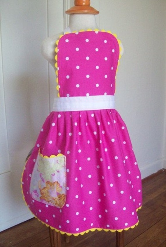 Girls Apron, Berry sorbet, Magenta Polka Dot, Kids & Toddlers Apron size 1-2 Years , READY MADE