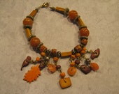SALE - Rust Fall Colored Charm Bracelet