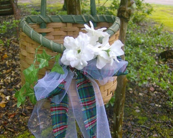 Charming Rustic Flower Girl Basket by The Celtic Heart