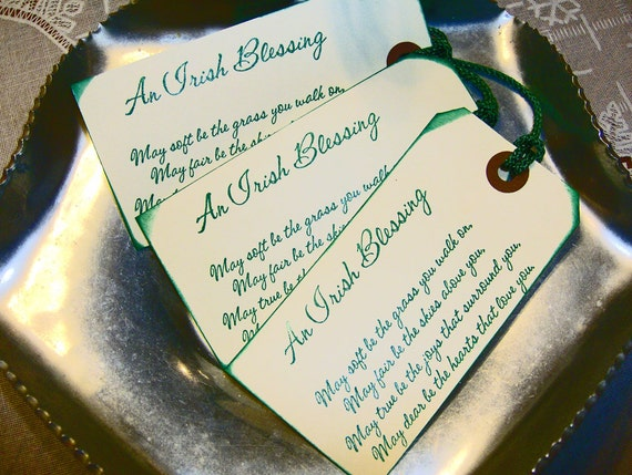 Traditional Irish Wedding Gifts: CELTIC IRISH Blessing Rustic WeDDING TAGS Or BooKMark Favors