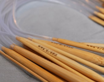 16 Inch Circular Bamboo Knitting Needles - Sizes US 10 10.5 11 13 or 15