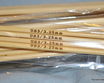 6 Inch Double Pointed Bamboo Knitting Needles - Size US 5 6 7 8 or 9