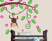 Monkey Branch Wall Decal Baby Girl Kids Decal