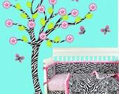 Zebra  Wall Decal Tree with Butterflies and Flowers Vinyl Sticker Nursery Decor Art