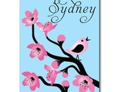 "Nursery Wall Art Cherry Tree Branches Personalized 11"" x 14"" Stretched Canvas Decor Kids Print"