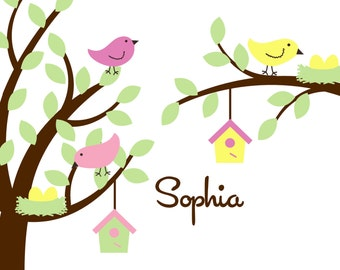 Tree with Bird, Bird Houses, Nest, Eggs, and Extra branch Personalized with Child's Name