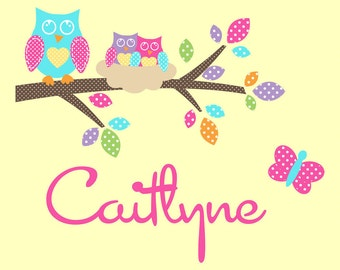 Owl Personalized Children Wall Decal