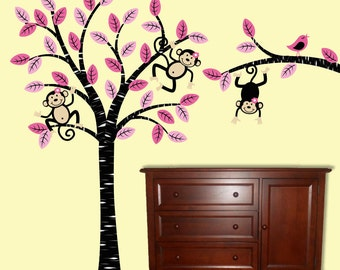 Girl Monkey  Tree Wall Decal Children Nursery Decor