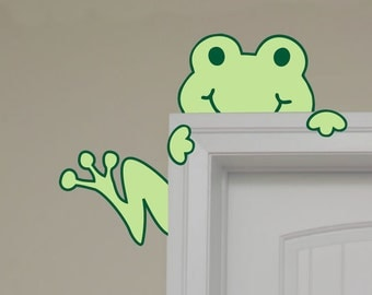 Children Wall Decal Frog Peeking Hugging Door Tree Frog Art