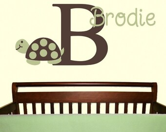 Mod Turtle Wall Decal Monogram Name Vinyl Sticker Nursery Child Baby Decor