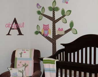 Owl Tree Wall Decal Personalized Owl Nursery Decor
