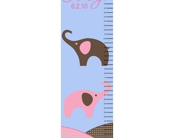 Growth Chart Children Canvas Growth Chart Pink Elephant Personalized
